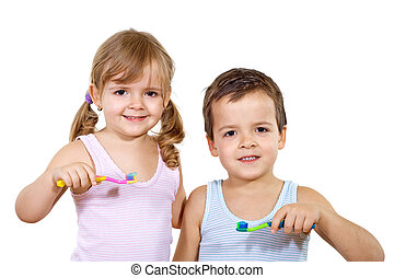 Kids with toothbrush