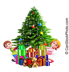 kids with tree and gifts