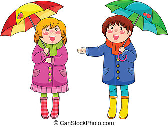 kids with umbrellas - two happy little kids standing with...