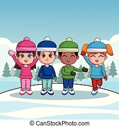 Kids with winter clothes