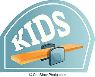 Kids wood seesaw logo, cartoon style