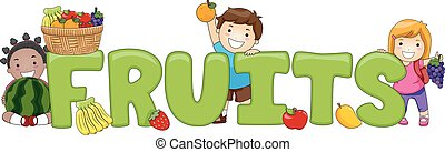Kids Word Fruits Lettering