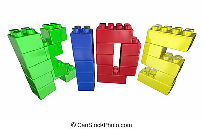 Kids Word Letters Toy Blocks Play Time 3d Illustration