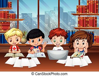 Kids working in the library