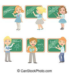 Kids Writing On Blackboard Set