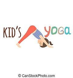 Kids yoga logo design with girl