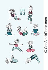 Kids yoga set. Children perform exercises, asanas, postures,...