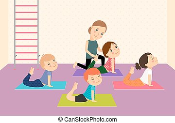Kids yoga with Instructor. Sport lesson for children Vector...