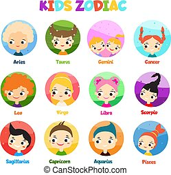 Kids zodiac signs. horoscope with children avatars. Astrological symbols in cartoon style