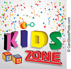 kids zone baner with children toys