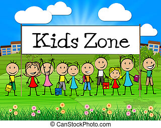 Kids Zone Banner Shows Free Time And Child - Kids Zone...