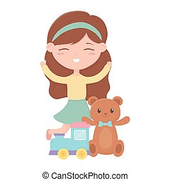 kids zone, cute little girl toys teddy bear train cartoon