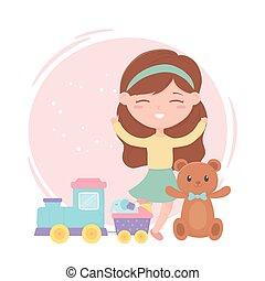 kids zone, cute little girl toys teddy bear train elephant