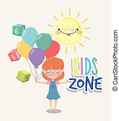 kids zone, cute little girl with balloons cubes toy cartoon sun