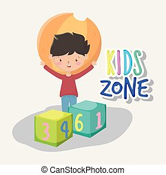 kids zone, happy little boy with ball and blocks numbers