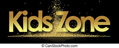 Kids Zone in golden stars and black background