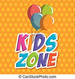 kids zone label with balloons air