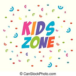 kids zone label with confetti