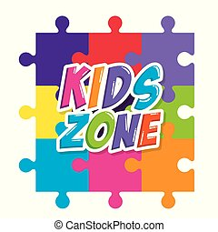 kids zone label with puzzle pieces