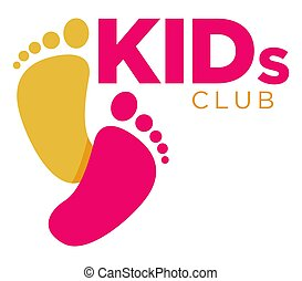 Kids zone logo template of child palm hands and speech...