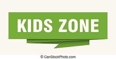 kids zone sign. kids zone paper origami speech bubble. kids...