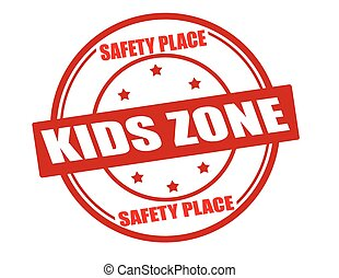 Stamp with text kids zone inside, vector illustration