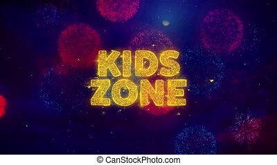 Kids zone Text on Colorful Firework Explosion Particles. Sale, Discount Price, Off Deals, Offer promotion offer percent discount ads 4K Loop Animation.