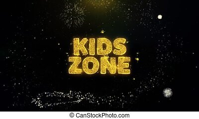 Kids zone Text on Gold Glitter Particles Spark Exploding Fireworks Display. Sale, Discount Price, Off Deals, Offer Promotion Offer Percent Discount ads 4K Loop Animation.