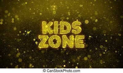 Kids zone Text Golden Glitter Glowing Lights Shine Particles. Sale, Discount Price, Off Deals, Offer promotion offer percent discount ads 4K Loop Animation.