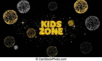 Kids zone Text Reveal on Glitter Golden Particles Firework. Sale, Discount Price, Off Deals, Offer promotion offer percent discount ads 4K Loop Animation.