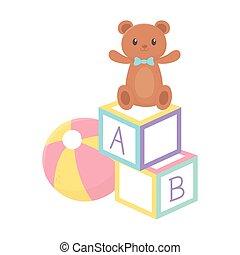 kids zone, toys teddy bear ball and blocks cartoon