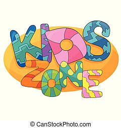 Kids zone vector cartoon logo. Colorful bubble letters for childrens playroom