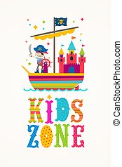 Kids zone vector sign