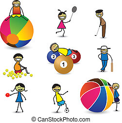 Kids(children) or people playing different sports & games. The girls and boys are playing cricket, basketball, tennis, table tennis, golf, shuttle badminton, football(soccer) and snooker(billiards)