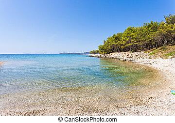 kiefer, sandstrand, pakostane, kroatien, -, besuchen, der,...