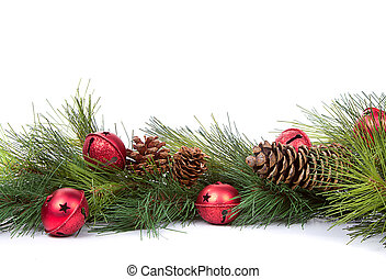 kiefer, zweige, mit, christbaumkugeln