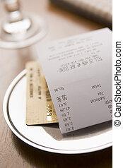 kiegyenlít, hitel, számla, kártya, étterem