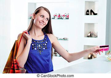 kiegyenlít, woman bevásárol, hitel, pénztár, kártya