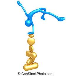 kiegyensúlyozott, képben látható, kazal, közül, pirula