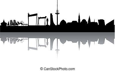 Kiel Skyline abstract on white Background