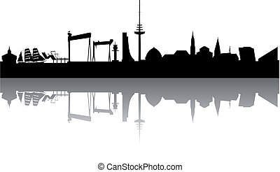 Kiel Skyline abstract on white Background
