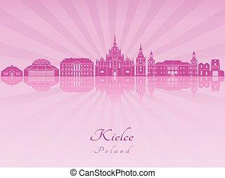 Kielce skyline in purple radiant orchid
