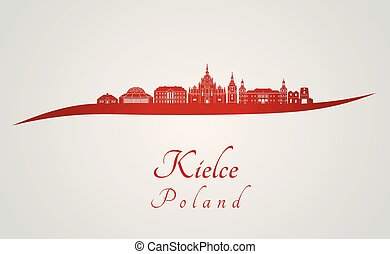 Kielce skyline in red