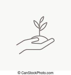kiemplant, terrein, holdingshanden, lijn, icon.
