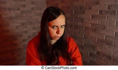 kiepski, piękny, czerwony, młoda kobieta, smutek, cegła, ...