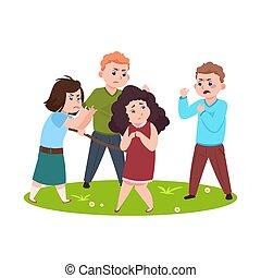 kiepski, znęcanie się, kids., mniejszy, gniewny, chłopcy, dziewczyny dzieci, wektor, ilustracja