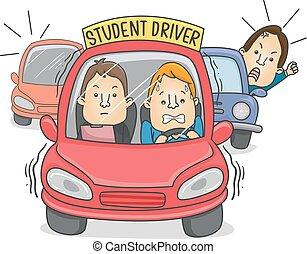 kierowca, wóz, człowiek, student, ilustracja