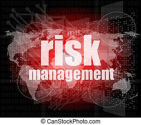 kierownictwo, concept:, słówko, ryzyko, kierownictwo, na, cyfrowy, ekran