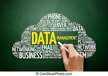 kierownictwo danych, słowo, chmura