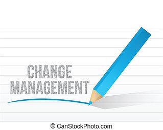 kierownictwo, na, notatnik, pisemny, papier, zmiana